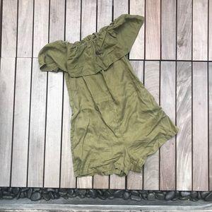 Zara Women | Army Green Off the Shoulder Romper